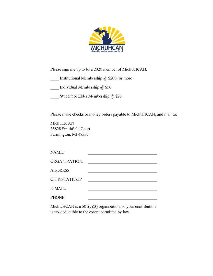 2020 MichUHCAN Membership Form
